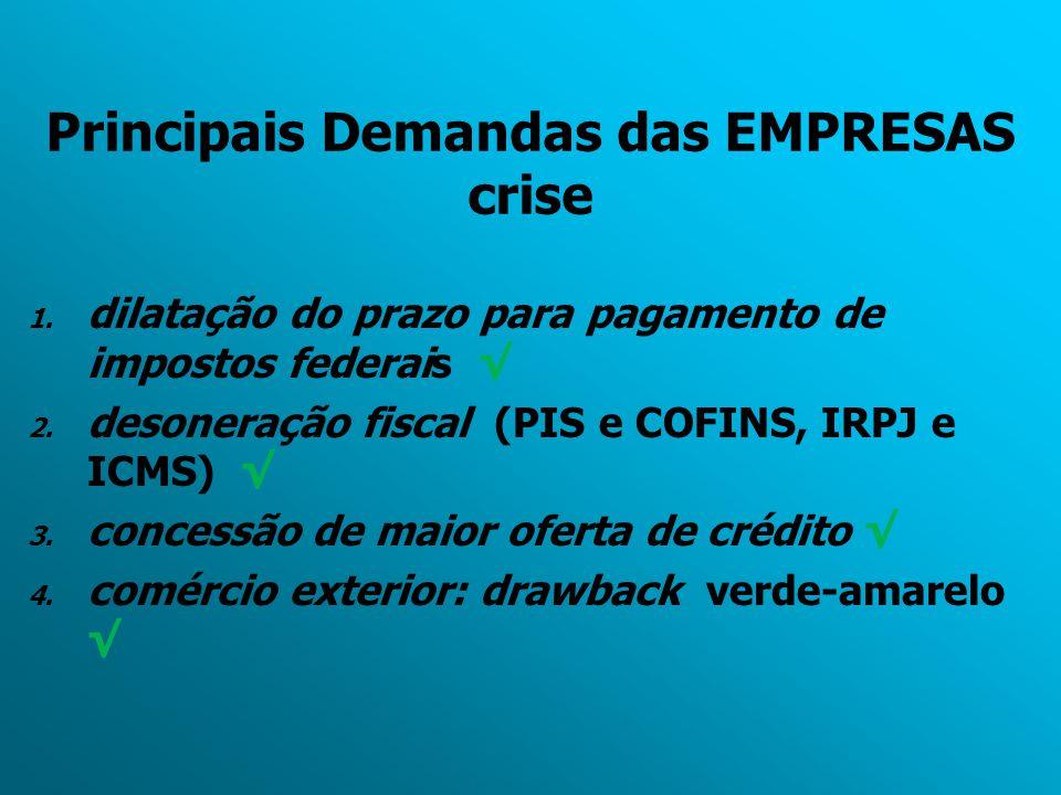 Principais Demandas das EMPRESAS crise 1. dilatação do prazo para pagamento de impostos federais √ 2. desoneração fiscal (PIS e COFINS, IRPJ e ICMS) √