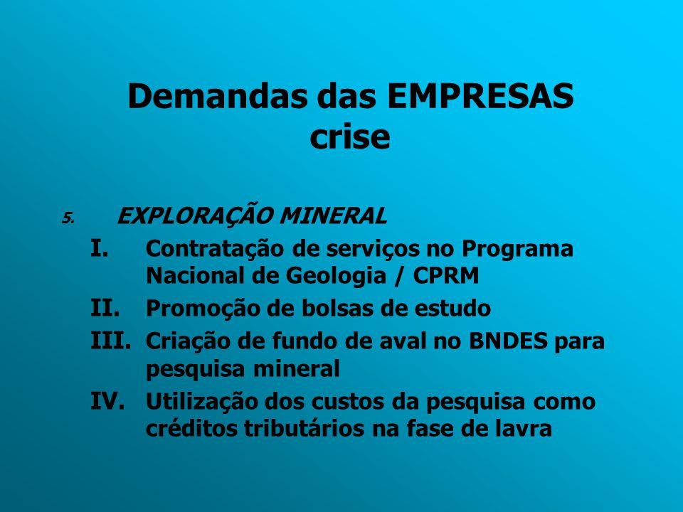 Demandas das EMPRESAS crise 5. EXPLORAÇÃO MINERAL I. Contratação de serviços no Programa Nacional de Geologia / CPRM II. Promoção de bolsas de estudo