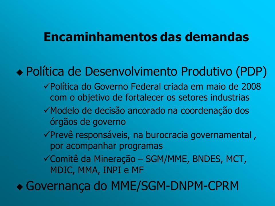 Encaminhamentos das demandas  Política de Desenvolvimento Produtivo (PDP) Política do Governo Federal criada em maio de 2008 com o objetivo de fortal