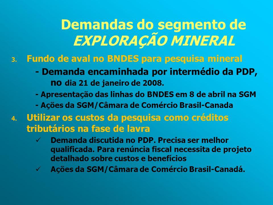Demandas do segmento de EXPLORAÇÃO MINERAL 3. Fundo de aval no BNDES para pesquisa mineral - Demanda encaminhada por intermédio da PDP, no dia 21 de j