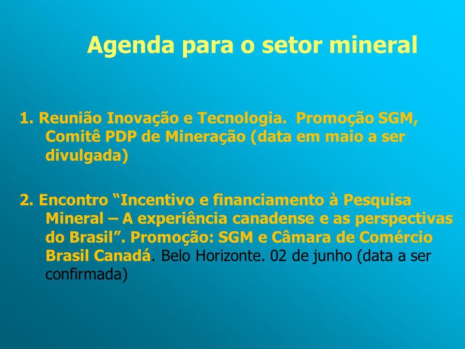 """Agenda para o setor mineral 1. Reunião Inovação e Tecnologia. Promoção SGM, Comitê PDP de Mineração (data em maio a ser divulgada) 2. Encontro """"Incent"""