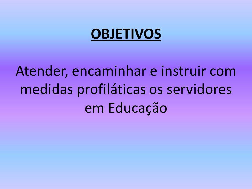 OBJETIVOS Atender, encaminhar e instruir com medidas profiláticas os servidores em Educação