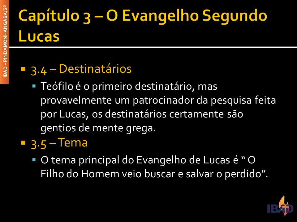 IBAD – PINDAMONHANGABA/SP  3.4 – Destinatários  Teófilo é o primeiro destinatário, mas provavelmente um patrocinador da pesquisa feita por Lucas, os