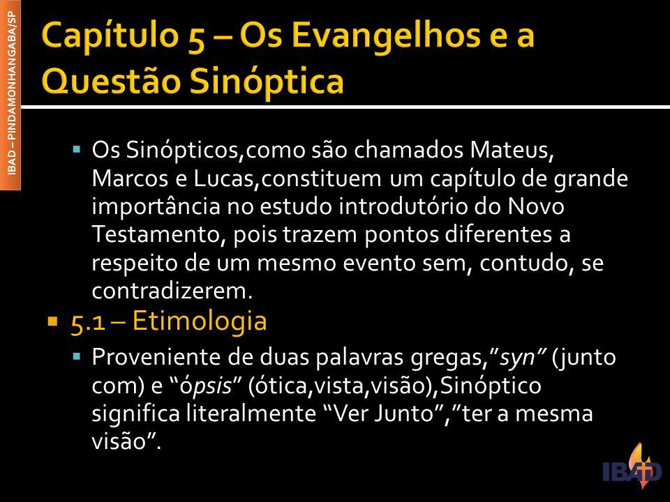 IBAD – PINDAMONHANGABA/SP  Os Sinópticos,como são chamados Mateus, Marcos e Lucas,constituem um capítulo de grande importância no estudo introdutório