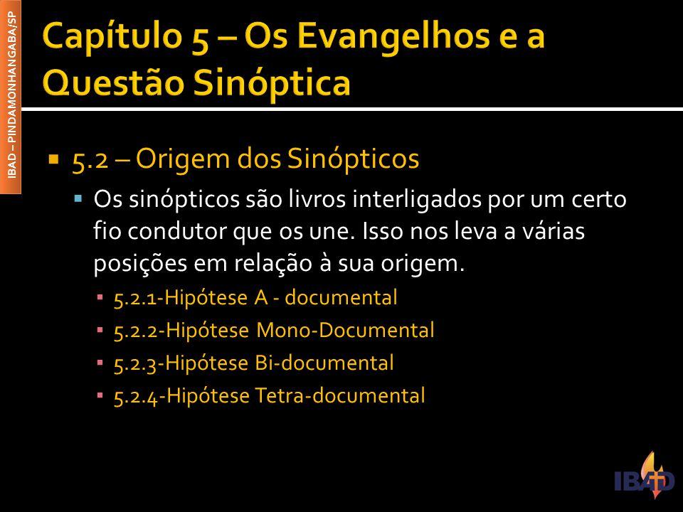 IBAD – PINDAMONHANGABA/SP  5.2 – Origem dos Sinópticos  Os sinópticos são livros interligados por um certo fio condutor que os une. Isso nos leva a