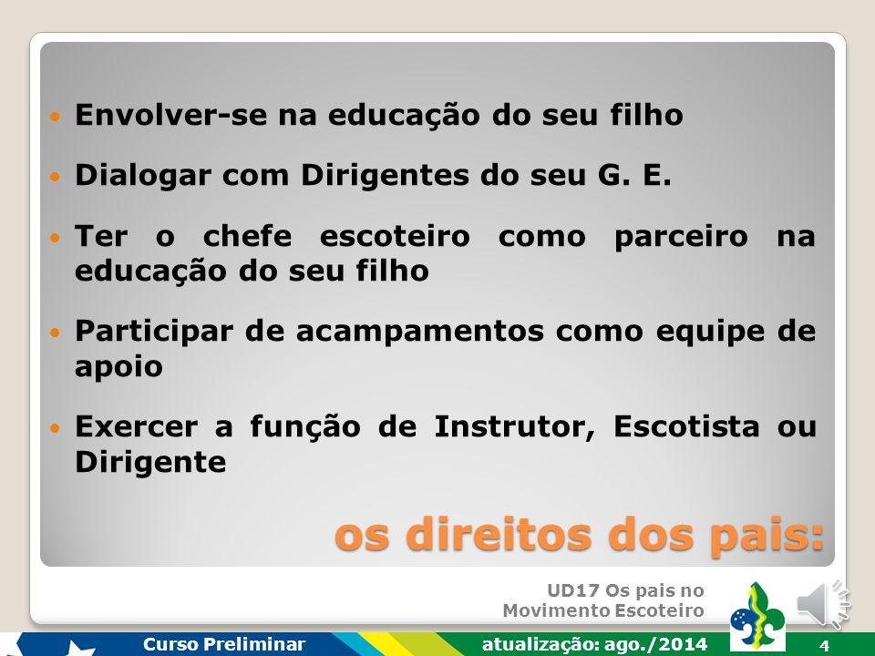 UD17 Os pais no Movimento Escoteiro Curso Preliminar atualização: ago./2014 3 Ter seu filho participando do M.