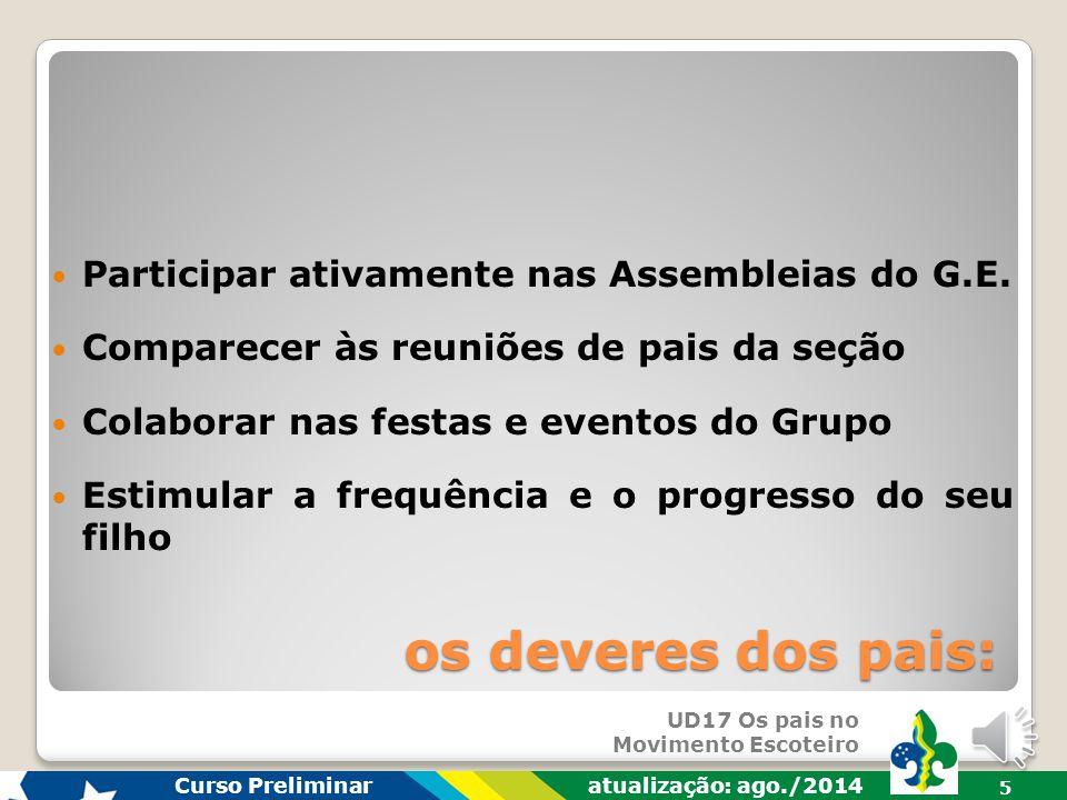 UD17 Os pais no Movimento Escoteiro Curso Preliminar atualização: ago./2014 4 Envolver-se na educação do seu filho Dialogar com Dirigentes do seu G.