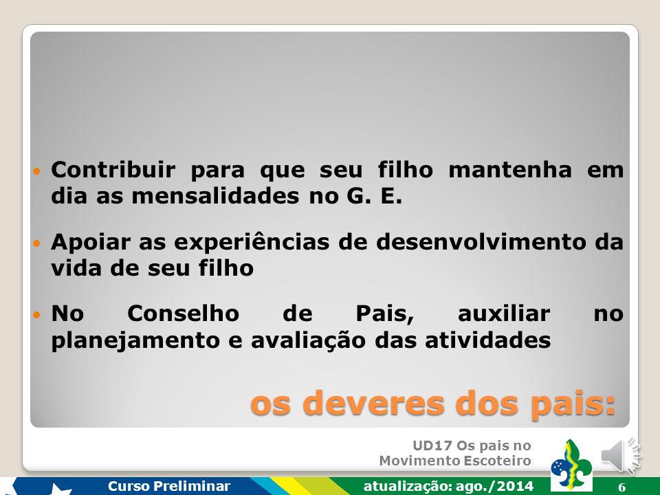 UD17 Os pais no Movimento Escoteiro Curso Preliminar atualização: ago./2014 5 os deveres dos pais: Participar ativamente nas Assembleias do G.E.