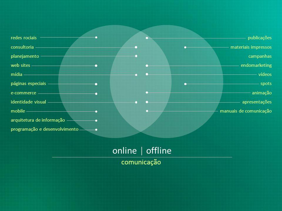 online | offline comunicação redes rociais consultoria planejamento web sites mídia páginas especiais e-commerce identidade visual mobile arquitetura de informação programação e desenvolvimento publicações materiais impressos campanhas endomarketing vídeos spots animação apresentações manuais de comunicação
