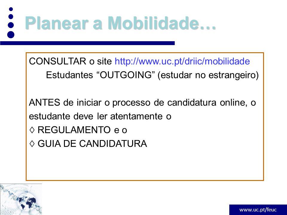 www.uc.pt/feuc Planear a Mobilidade…