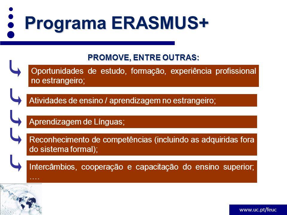 www.uc.pt/feuc PROMOVE, ENTRE OUTRAS: Programa ERASMUS+ Oportunidades de estudo, formação, experiência profissional no estrangeiro; Atividades de ensino / aprendizagem no estrangeiro; Aprendizagem de Línguas; Reconhecimento de competências (incluindo as adquiridas fora do sistema formal); Intercâmbios, cooperação e capacitação do ensino superior; ….