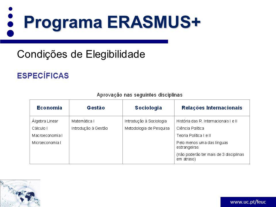 www.uc.pt/feuc Condições de Elegibilidade ESPECÍFICAS Programa ERASMUS+
