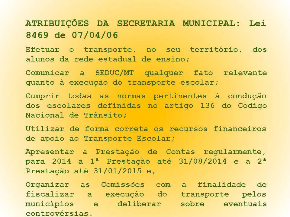 ATRIBUIÇÕES DA SECRETARIA MUNICIPAL: Lei 8469 de 07/04/06 Efetuar o transporte, no seu território, dos alunos da rede estadual de ensino; Comunicar a
