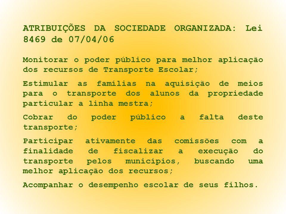 ATRIBUIÇÕES DA SOCIEDADE ORGANIZADA: Lei 8469 de 07/04/06 Monitorar o poder público para melhor aplicação dos recursos de Transporte Escolar; Estimula