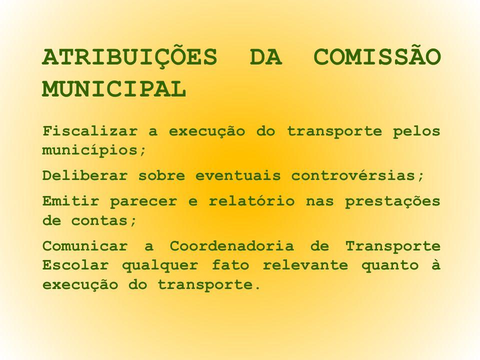 ATRIBUIÇÕES DA COMISSÃO MUNICIPAL Fiscalizar a execução do transporte pelos municípios; Deliberar sobre eventuais controvérsias; Emitir parecer e rela