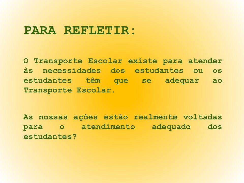 PARA REFLETIR: O Transporte Escolar existe para atender às necessidades dos estudantes ou os estudantes têm que se adequar ao Transporte Escolar. As n