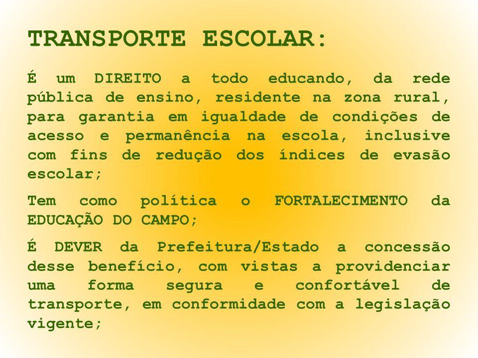 O PAPEL DA ESCOLA: Informar no ato da matrícula (GED) se o estudante utiliza o Transporte Escolar.