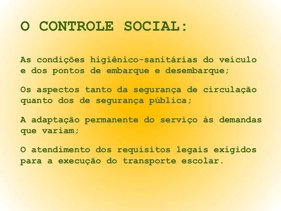O CONTROLE SOCIAL: As condições higiênico-sanitárias do veículo e dos pontos de embarque e desembarque; Os aspectos tanto da segurança de circulação q