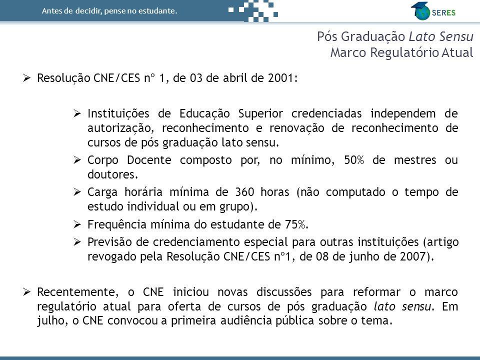 Antes de decidir, pense no estudante. Pós Graduação Lato Sensu Marco Regulatório Atual  Resolução CNE/CES nº 1, de 03 de abril de 2001:  Instituiçõe