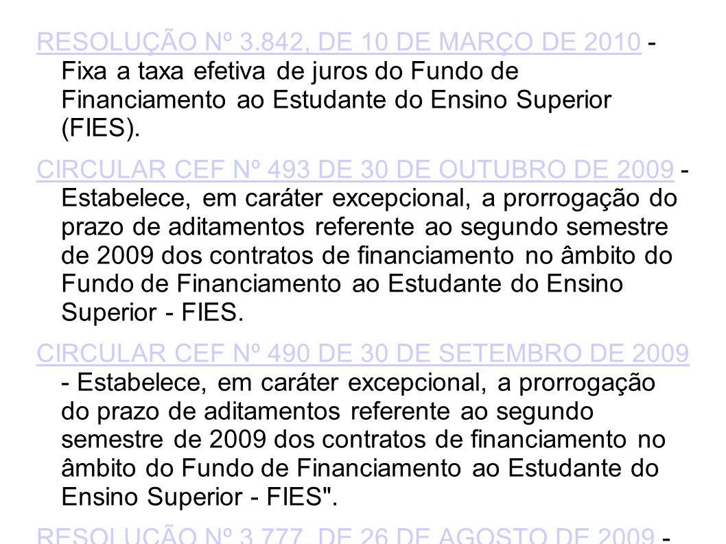 RESOLUÇÃO Nº 3.842, DE 10 DE MARÇO DE 2010RESOLUÇÃO Nº 3.842, DE 10 DE MARÇO DE 2010 - Fixa a taxa efetiva de juros do Fundo de Financiamento ao Estudante do Ensino Superior (FIES).