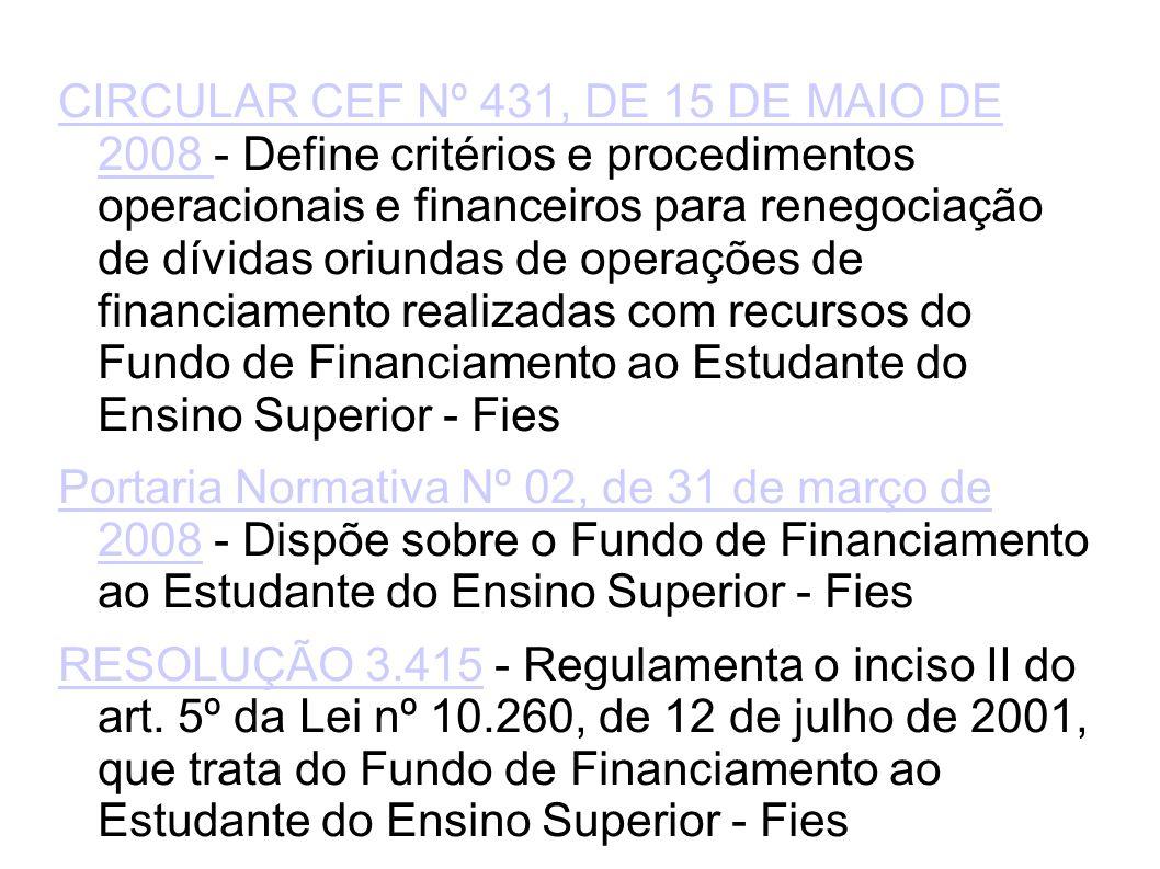 CIRCULAR CEF Nº 431, DE 15 DE MAIO DE 2008 CIRCULAR CEF Nº 431, DE 15 DE MAIO DE 2008 - Define critérios e procedimentos operacionais e financeiros para renegociação de dívidas oriundas de operações de financiamento realizadas com recursos do Fundo de Financiamento ao Estudante do Ensino Superior - Fies Portaria Normativa Nº 02, de 31 de março de 2008Portaria Normativa Nº 02, de 31 de março de 2008 - Dispõe sobre o Fundo de Financiamento ao Estudante do Ensino Superior - Fies RESOLUÇÃO 3.415RESOLUÇÃO 3.415 - Regulamenta o inciso II do art.