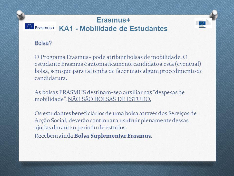 Erasmus+ KA1 - Mobilidade de Estudantes Bolsa? Bolsa? O Programa Erasmus+ pode atribuir bolsas de mobilidade. O estudante Erasmus é automaticamente ca