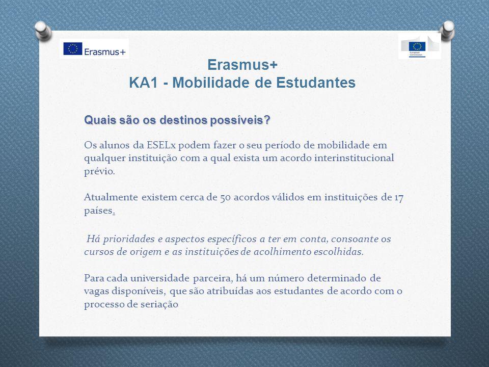 Erasmus+ KA1 - Mobilidade de Estudantes Quais são os destinos possíveis? Quais são os destinos possíveis? Os alunos da ESELx podem fazer o seu período