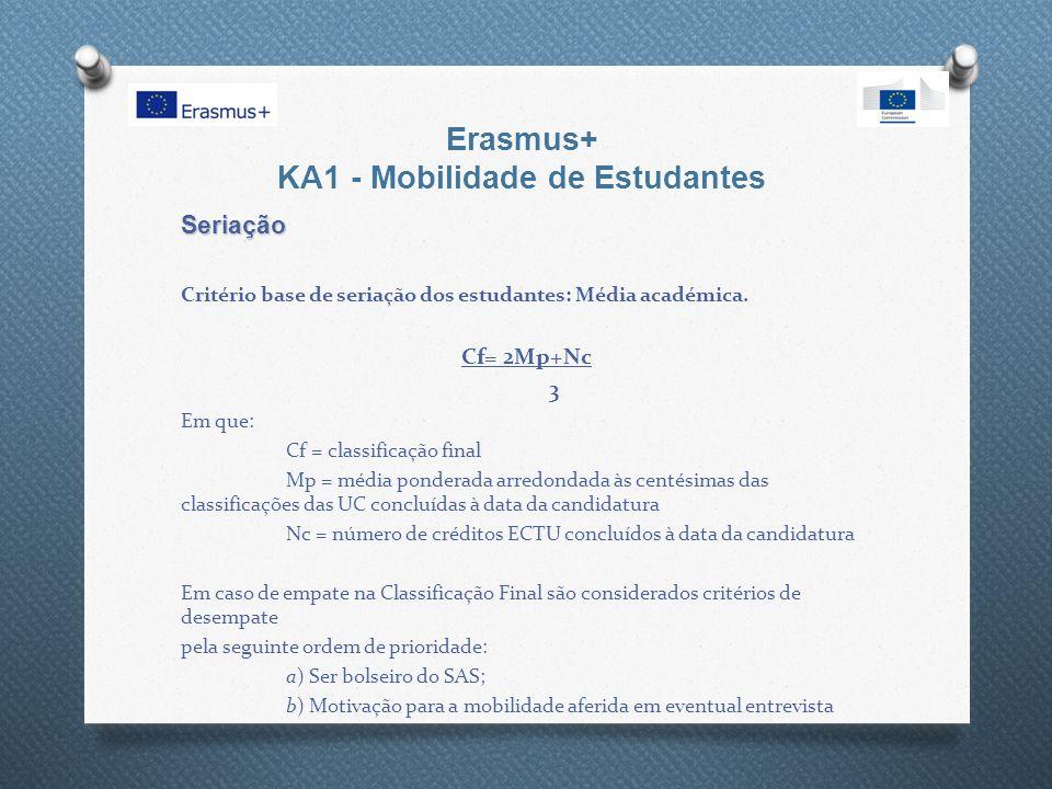 Erasmus+ KA1 - Mobilidade de Estudantes Seriação Critério base de seriação dos estudantes: Média académica. Cf= 2Mp+Nc 3 Em que: Cf = classificação fi