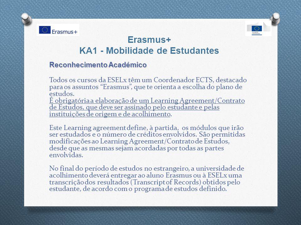 Erasmus+ KA1 - Mobilidade de Estudantes Reconhecimento Académico Todos os cursos da ESELx têm um Coordenador ECTS, destacado para os assuntos Erasmus , que te orienta a escolha do plano de estudos.