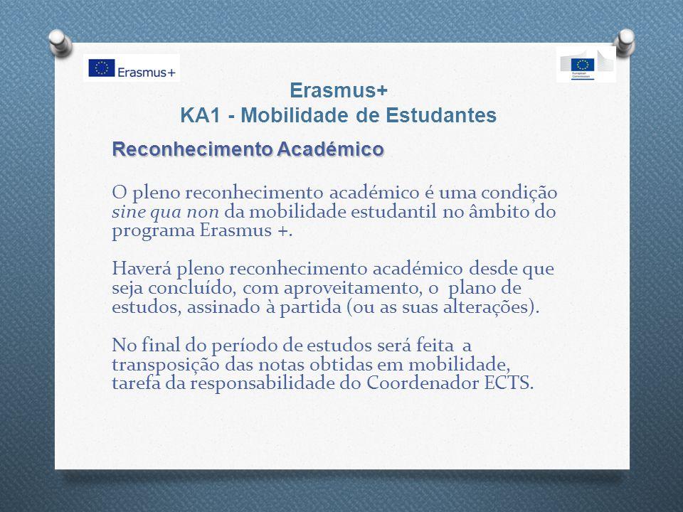 Erasmus+ KA1 - Mobilidade de Estudantes Reconhecimento Académico O pleno reconhecimento académico é uma condição sine qua non da mobilidade estudantil