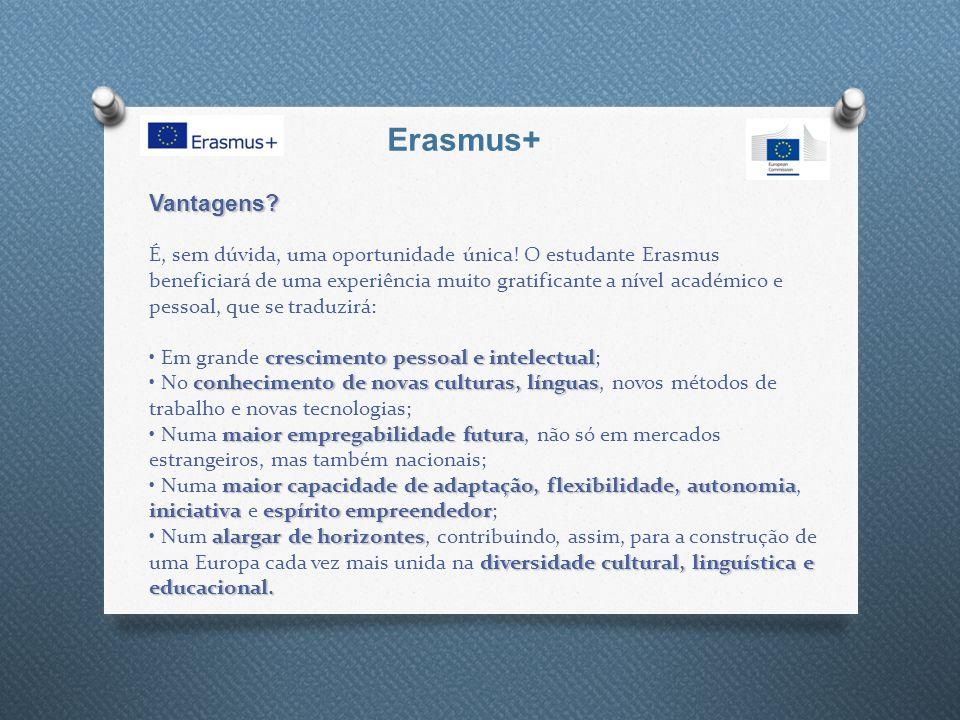 Erasmus+ Vantagens? crescimento pessoal e intelectual conhecimento de novas culturas, línguas maior empregabilidade futura maior capacidade de adaptaç