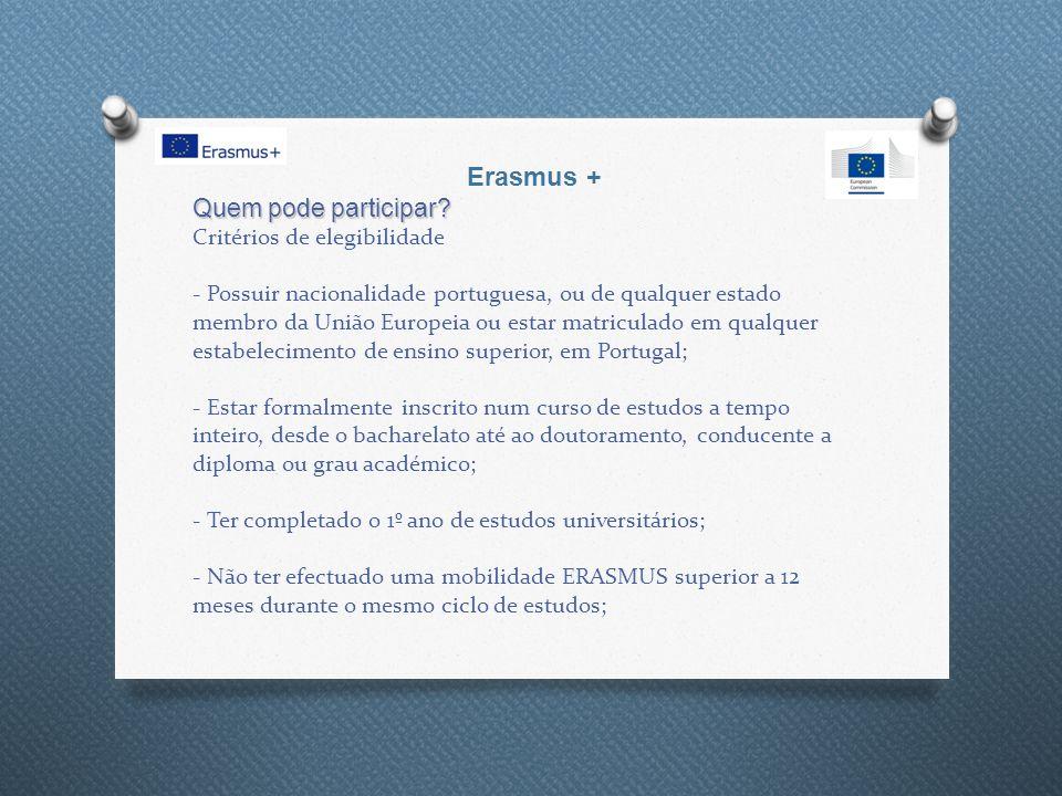 Quem pode participar? Quem pode participar? Critérios de elegibilidade - Possuir nacionalidade portuguesa, ou de qualquer estado membro da União Europ