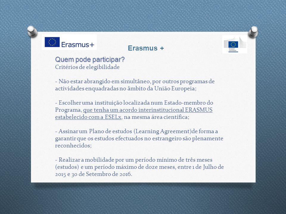 Erasmus+ KA1 - Mobilidade de Estudantes Reconhecimento Académico O pleno reconhecimento académico é uma condição sine qua non da mobilidade estudantil no âmbito do programa Erasmus +.