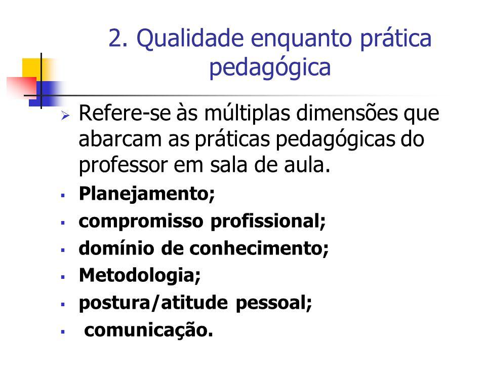 2. Qualidade enquanto prática pedagógica  Refere-se às múltiplas dimensões que abarcam as práticas pedagógicas do professor em sala de aula.  Planej