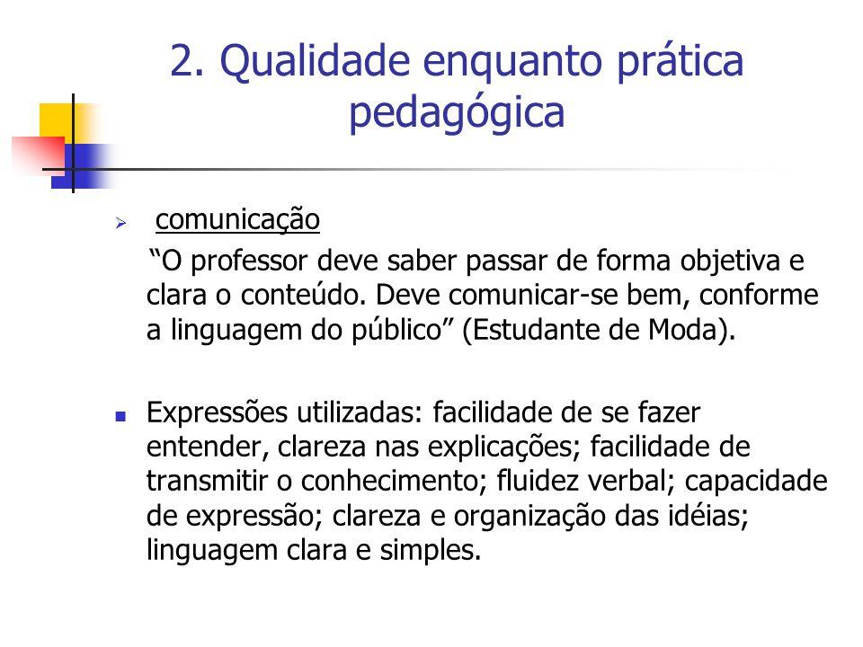 """2. Qualidade enquanto prática pedagógica  comunicação """"O professor deve saber passar de forma objetiva e clara o conteúdo. Deve comunicar-se bem, con"""
