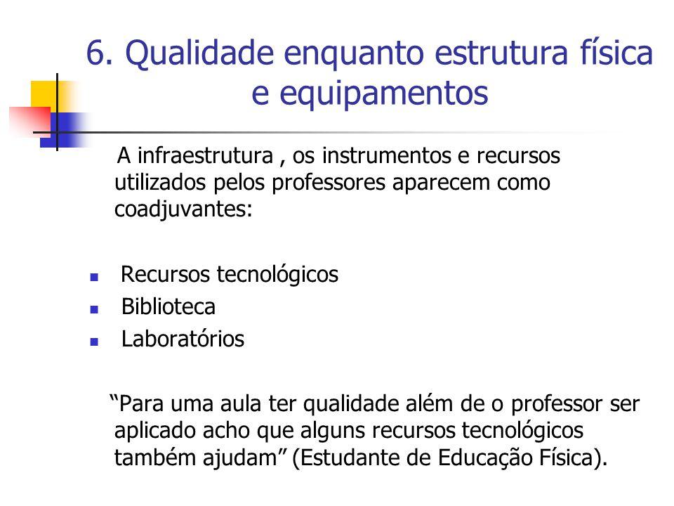 6. Qualidade enquanto estrutura física e equipamentos A infraestrutura, os instrumentos e recursos utilizados pelos professores aparecem como coadjuva