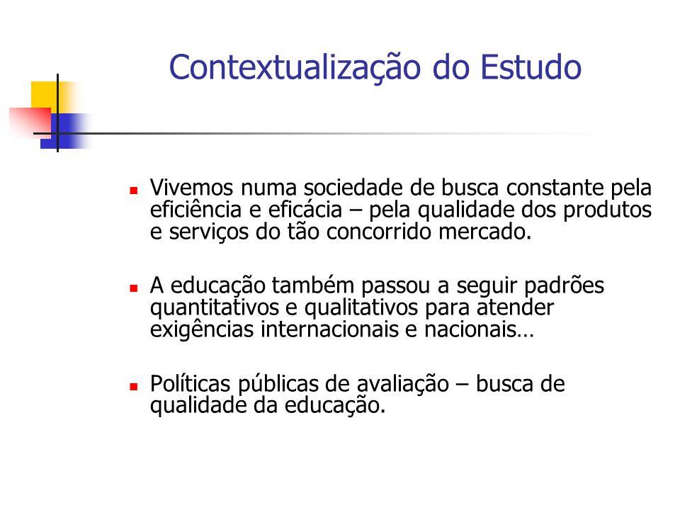 Contextualização do Estudo Pergunta: o que é qualidade em educação.