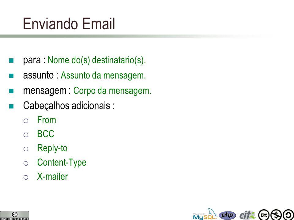 Enviando Email para : Nome do(s) destinatario(s). assunto : Assunto da mensagem.