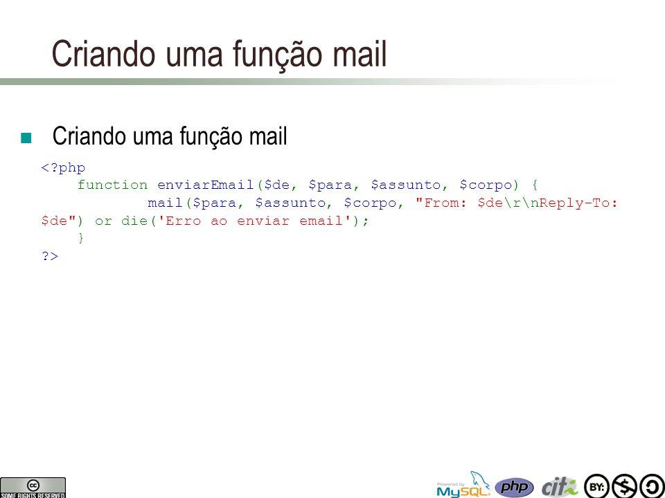Criando uma função mail