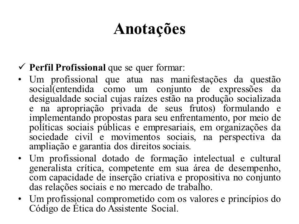 Anotações Perfil Profissional que se quer formar: Um profissional que atua nas manifestações da questão social(entendida como um conjunto de expressõe