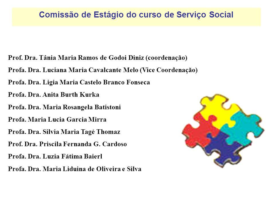 Comissão de Estágio do curso de Serviço Social Prof. Dra. Tânia Maria Ramos de Godoi Diniz (coordenação) Profa. Dra. Luciana Maria Cavalcante Melo (Vi