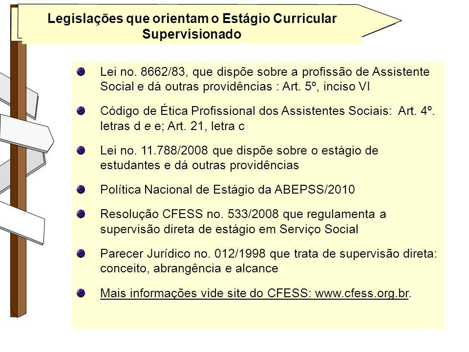 Legislações que orientam o Estágio Curricular Supervisionado Lei no. 8662/83, que dispõe sobre a profissão de Assistente Social e dá outras providênci