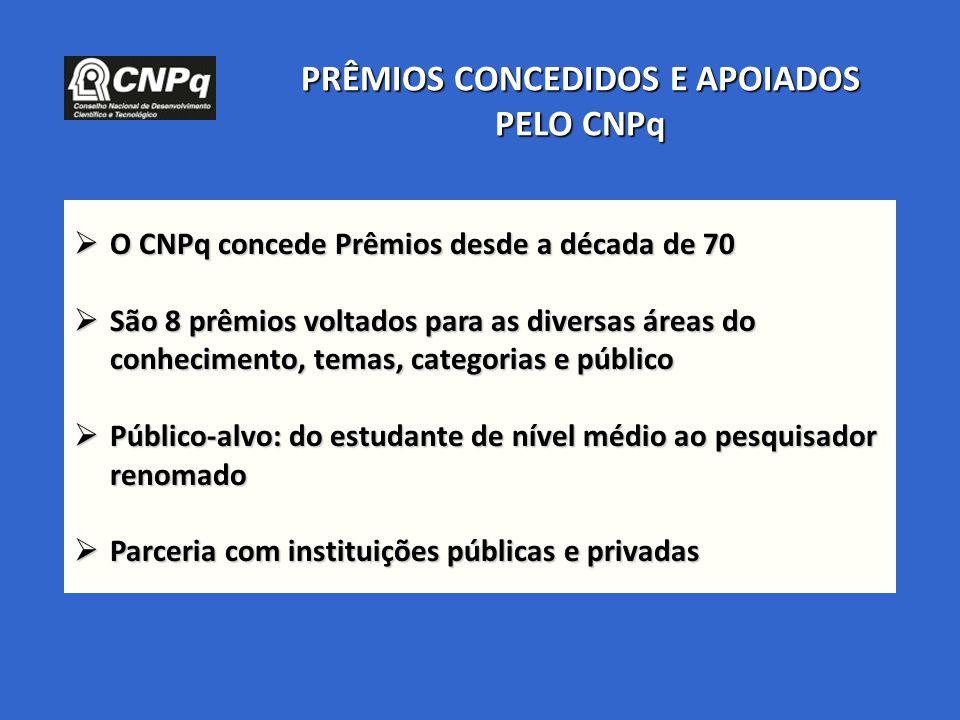 PRÊMIOS CONCEDIDOS E APOIADOS PELO CNPq  O CNPq concede Prêmios desde a década de 70  São 8 prêmios voltados para as diversas áreas do conhecimento,