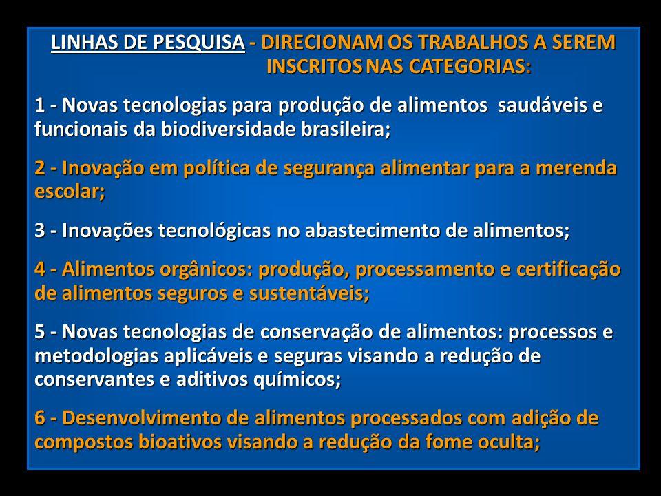 LINHAS DE PESQUISA - DIRECIONAM OS TRABALHOS A SEREM INSCRITOS NAS CATEGORIAS: LINHAS DE PESQUISA - DIRECIONAM OS TRABALHOS A SEREM...................