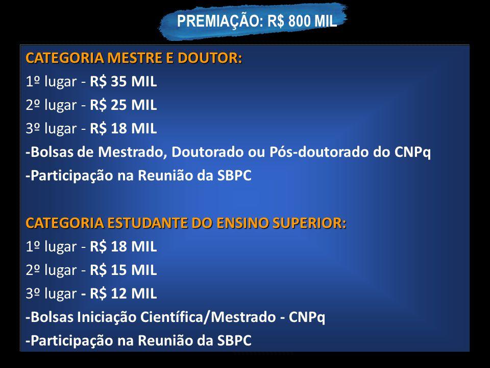 CATEGORIA MESTRE E DOUTOR: 1º lugar - R$ 35 MIL 2º lugar - R$ 25 MIL 3º lugar - R$ 18 MIL -Bolsas de Mestrado, Doutorado ou Pós-doutorado do CNPq -Par