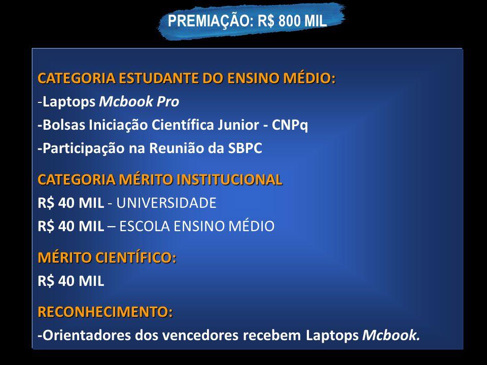 CATEGORIA ESTUDANTE DO ENSINO MÉDIO: -Laptops Mcbook Pro -Bolsas Iniciação Científica Junior - CNPq -Participação na Reunião da SBPC CATEGORIA MÉRITO
