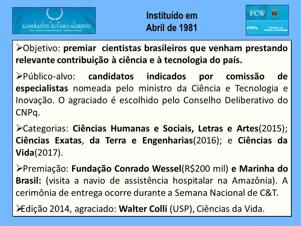 Objetivo: premiar cientistas brasileiros que venham prestando relevante contribuição à ciência e à tecnologia do país.  Público-alvo: candidatos in