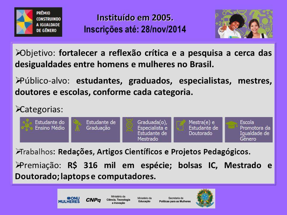  Objetivo: fortalecer a reflexão crítica e a pesquisa a cerca das desigualdades entre homens e mulheres no Brasil.  Público-alvo: estudantes, gradua