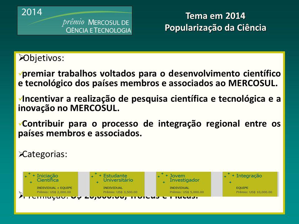  Objetivos: premiar trabalhos voltados para o desenvolvimento científico e tecnológico dos países membros e associados ao MERCOSUL. Incentivar a real
