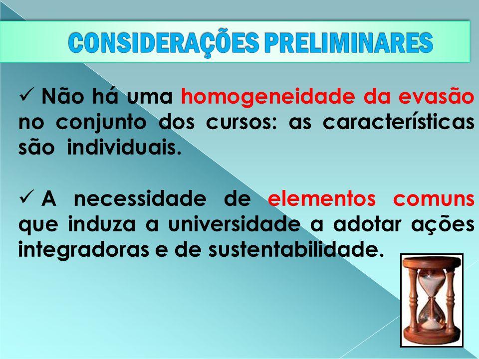 Não há uma homogeneidade da evasão no conjunto dos cursos: as características são individuais. A necessidade de elementos comuns que induza a universi